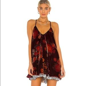 FREE PEOPLE TWO FACED FLORAL MINI DRESS PL…